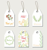 Set of vector floral gift tags Stock Images