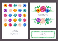 Set of vector floral greeting cards. Rose flower pattern and gre Stock Images