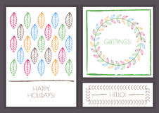 Set of vector floral greeting cards. Watercolor multicolor leaf Royalty Free Stock Images
