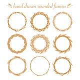 Set of vector floral hand drawn frames. Stock Photos