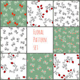 Set of vector floral pattern. Seamless background, vector pattern for cushion, pillow, bandanna, kerchief, shawl fabric print. Tex Royalty Free Stock Images