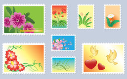 Set of vector floral postage stamps Stock Photography