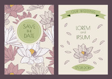 Set of vector floral vintage backgrounds. Hand drawn lotus flowe Royalty Free Stock Photos