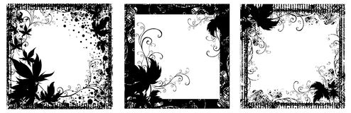 Set of Vector Floral vintage black frames Stock Images