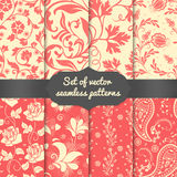 Set of vector flower seamless pattern elements Stock Photography