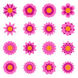Set of vector flowers . Flower icon. Floral symbol. Vector illustration Stock Images