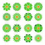 Set of vector flowers . Flower icon. Floral symbol. Vector illustration Stock Photography