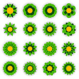 Set of vector flowers . Flower icon. Floral symbol. Vector illustration Stock Image