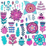 Set of vector flowers graphic collection Royalty Free Stock Image