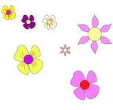 Set of Vector Flowers Stock Photography