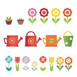 Set of vector flowers, pots and water cans, isolated Stock Photography