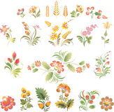 Set of vector flowers in Ukrainian folk style Royalty Free Stock Images