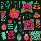Set of vector flowers. Vector floral set.  Stock Photography