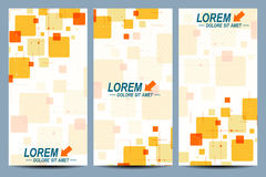 Set of the vector flyers.  Background with colorful squares, line, dot. Modern stylish design Stock Images