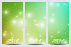Set of vector flyers.  Background science, connection, chemistry, biology, medicine, technology. Modern design Royalty Free Stock Image