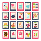 Set of 20 vector food icons. Set of 20 different vector food icons with a map, hand and heart, various cocktails , coffee, pasta, pizza, cheeseburger, sushi Stock Illustration