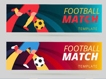 Set of vector football match flyer background with ball and play Royalty Free Stock Image