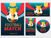 Set of vector football match flyer, poster, badge and banner bac Stock Photography