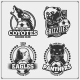 Set of vector football and soccer badges, labels and design elements. Sport club emblems with grizzly bear, panther, coyote, eagle vector illustration