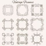 Set of vector frames. Hand-drawn calligraphic and. Set of vector vintage frames. Hand-drawn calligraphic and typographic elements. Vector illustration Royalty Free Stock Images
