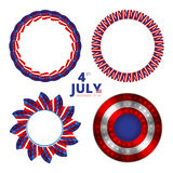 Set of vector frames to the Independence day of 4th july. Vector illustration Royalty Free Stock Photos