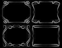 Set of vector framework. White on black Royalty Free Stock Photos