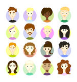 Set 16 vector freehand drawing images different people's faces Stock Images