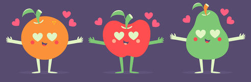 Set of Vector Fruits in Love Royalty Free Stock Images
