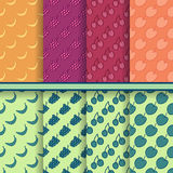 Set of vector fruits seamless patterns Stock Image