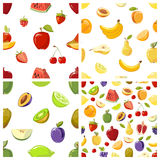 Set of vector fruits seamless patterns Royalty Free Stock Photo