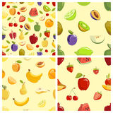 Set of vector fruits seamless patterns Royalty Free Stock Photography