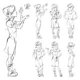 Set of vector full-length hand-drawn Caucasian teens. Black and white front and side view sketch of a girl catch a butterfly, monochrome illustration of Royalty Free Stock Image