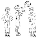 Set of vector full-length hand-drawn Caucasian teens, black and Royalty Free Stock Photo