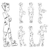 Set of vector full-length hand-drawn Caucasian teens. Front and side view sketch of a boy with a spinning ball on his finger, monochrome freehand illustration Stock Photo