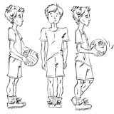 Set of vector full-length hand-drawn Caucasian teens with a socc Royalty Free Stock Image