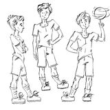Set of vector full-length hand-drawn Caucasian teens with a socc. Er ball, black and white front and side view sketch of youngsters, monochrome illustration of Stock Photography