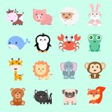 Set of vector funny animals in cartoon style. Cute animals on color background. A collection of small animals in the children`s style stock illustration