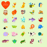 Set of vector funny animals in cartoon style Royalty Free Stock Photography