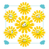 Set of vector funny suns. Collection of cute cartoon suns with different faces Royalty Free Stock Images