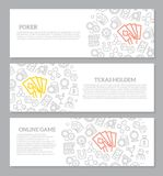 Set of vector gambling and casino horizontal banners with icon pattern. Vector illustration stock illustration