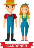 Set of vector  gardener man and  gardener woman. Vector illustration of a happy gardener standing with his garden tool Stock Image