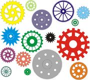 Set of vector gears different in the form Royalty Free Stock Images