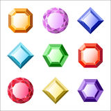 Set of vector gems and diamonds icons Royalty Free Stock Images