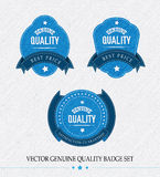 Set of Vector Genuine quality fabric badge Stock Image