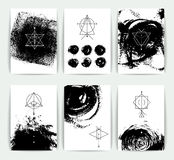 Set of vector geometric alchemy symbols on hand-drawn background. / abstract occult and mystic signs / business card templates / line hipster logotype stock illustration