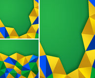 Set of vector geometric backgrounds using Brazil flag colors. Set of Abstract geometric backgrounds using Brazil flag colors, vector a4 format. Abstract vector royalty free illustration