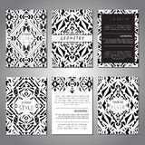 Set of vector geometric black and white brochure templates for business and invitation. Ethnic Royalty Free Stock Image