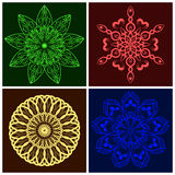 Set of Vector Geometric Colour Mandala. Elements for your designs, invitation cards, yoga, meditation, astrology, religion and other bright projects Stock Photos