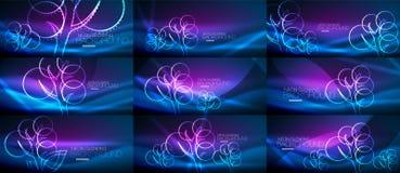 Set of geometric neon tree backgrounds. Set of vector geometric neon tree backgrounds Stock Photo