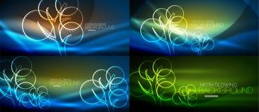 Set of geometric neon tree backgrounds. Set of vector geometric neon tree backgrounds Stock Image